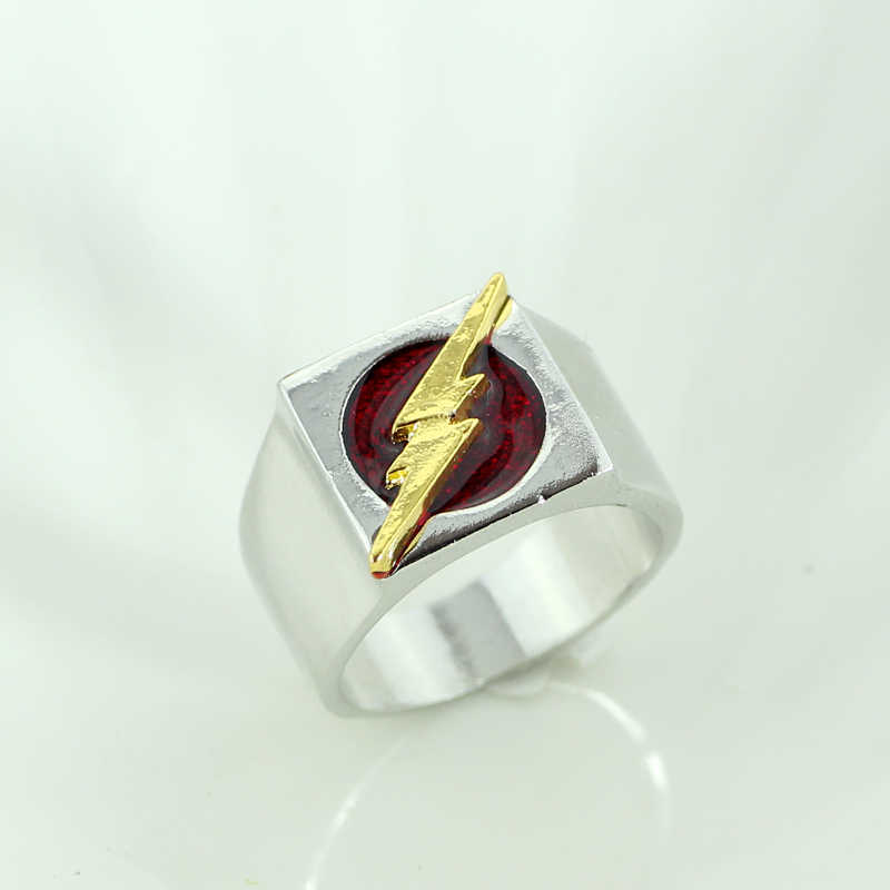 Супергерой из комиксов вспышка-кольцо Шарм красная Эмаль золотое Освещение Логотип серебристое кольцо модные ювелирные аксессуары для женщин и мужчин