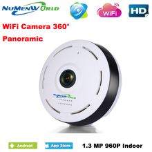 360 Degree network IP WIFI Wireless Camera 1.3MP 960P Panoramic Fisheye IP Camera Android IOS Phone Remote View Free Shipping