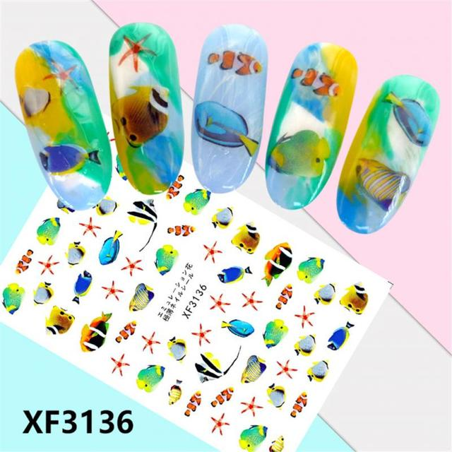 2 Types Tropical Fish Pattern Nail Art Sticker For Nail Design