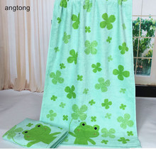 1pc 60*120cm cute frog rabbit bath towel two side looped pile cartoon embroidered soft quick dry 100% cotton CR-T57