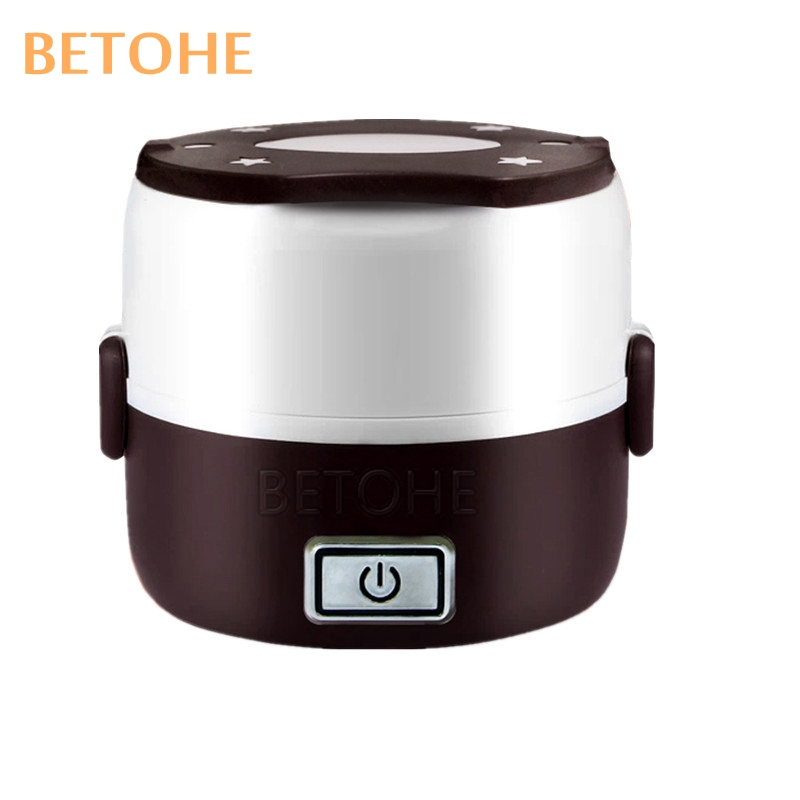 BETOHE 2 Layers Electrical heating box potable picnic lunch cabinet keep wram food container mini cooker for school office home