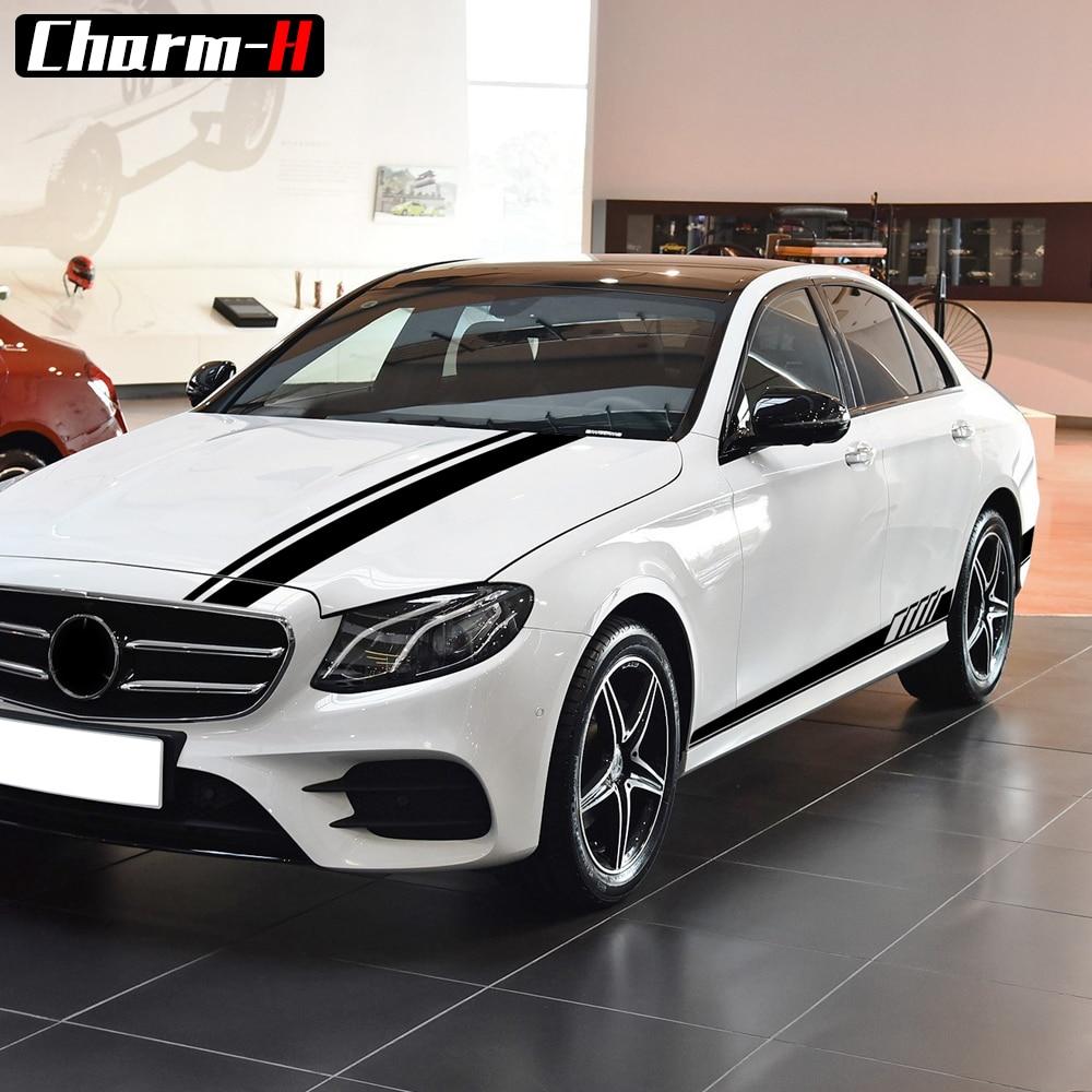 Araba Hood Bonnet çatı arka yan etek vinil çıkartma çizgili kiti Mercedes Benz E sınıfı için W212 W213 E200 E250 e300 E63 AMG