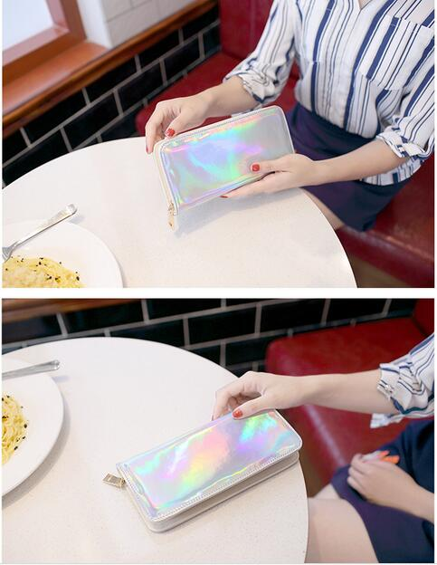 1 piece Hologram Wallet Handbag Holographic Leather Laser Wallets Ladies Long Wristlet Call of Duty Female Coin Bag Girl Purse