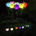 7 Pcs Ao Ar Livre Movido A Energia Solar ABS Tulip Flower LED Night Luz Paisagem Lâmpada Quintal Caminho Jardim