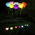 7Pcs Outdoor Solar Powered ABS Tulip Flower LED Light Yard Garden Path Landscape Lamp New