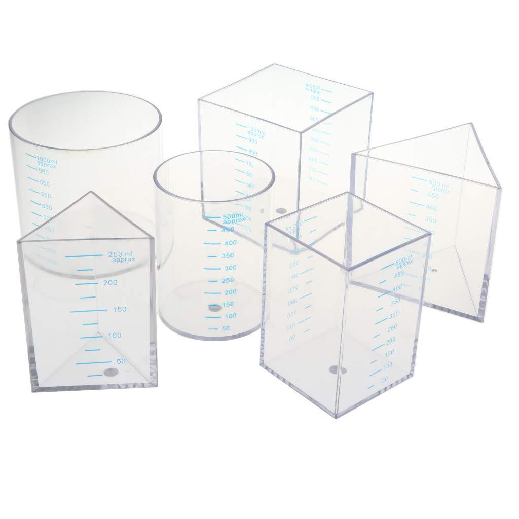6 pièces tasse à mesurer géométrique en plastique diplômé chimie Science expérience équipement éducatif jouet cadeau pour enfants