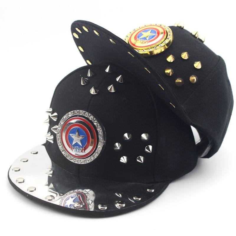 dcea1c51e3d Captain America Pentagram Baseball Caps For Children Boy Rivet Rhinestone Hip  Hop Hats Summer Sun Hat Outdoor Shade Cap -in Hats   Caps from Mother   Kids  ...