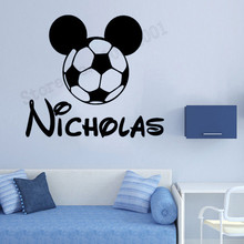 Mickey Mouse Soccer Football With Custom Name Wall Sticker Boys Decoration Beauty Fashion Poster Mural Decals Decor LY1198
