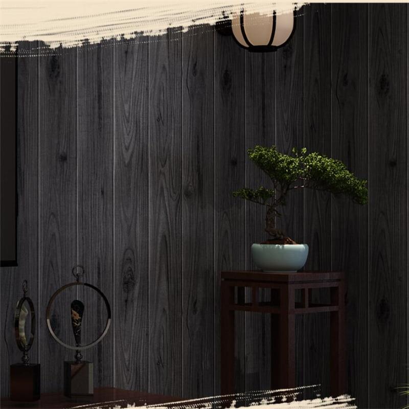 все цены на Beibehang Chinese nostalgic woodgrain wood flooring wallpaper color clothing shop restaurant teahouse engineering 3d wallpaper