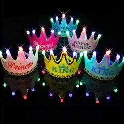Дети День Рождения Вечеринка Led корона шляпа игрушки Король принцесса вечерние торт фото игрушки