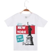Hot Sale Boy T Shirts Child Cotton Short Sleeve Tees Creative Goddess Of Freedom Printing Children Clothing Kids White Tee Shirt