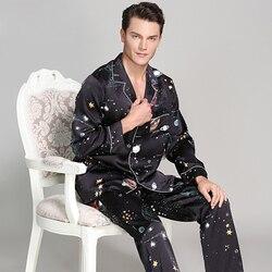 Mode schwarz sterne 100% echte seide pyjamas sets für männer langarm qualität indoor Männlichen homewear edle seide pijamas männer