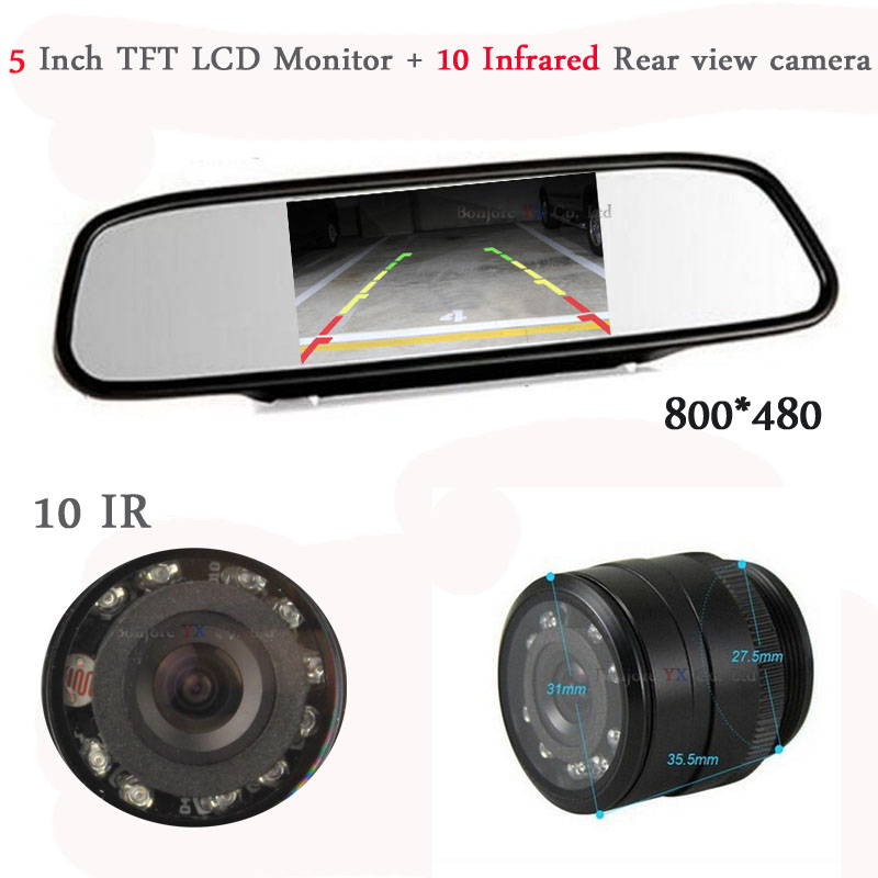 Hot HD 5 Inch 800 480 LCD TFT Screen Mirror Monitor Display With Car Reaview Camera
