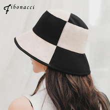 Fibonacci 2019 New Cotton Linen Mix Bucket Hats Big Plaid Flat Bob Hat For Women Panama Casual Beach Sun