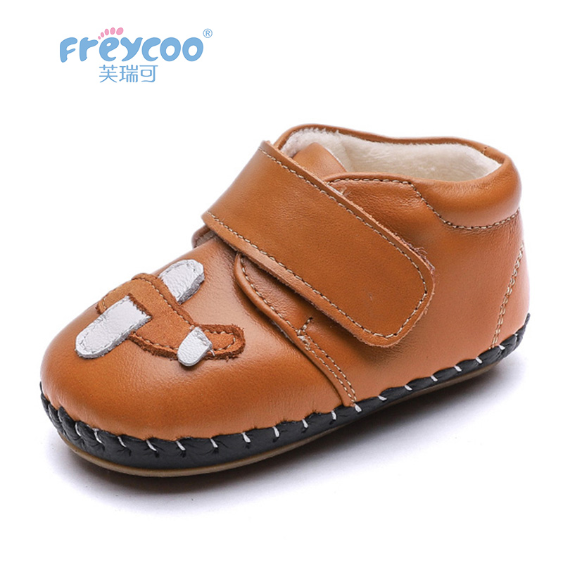 Freycoo 2018 Kids Shoes Winter Baby Toddler Lovely Boys Breathable Shoes Genuine Leather Warm Cotton Shoes