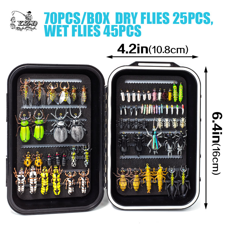 Image 2 - Promo Ultra Fly Fishing flies Set Dry Wet Nymph streamer fly lure tying material kit fishing box carp trout pike-in Fishing Lures from Sports & Entertainment