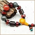 Yumten Mujeres Pulseras 15mm Agate Bracelet Lover Bracelet Men And Women Bracelets Of Beads 925 Sterling Fine Bracelet Dzi Stone
