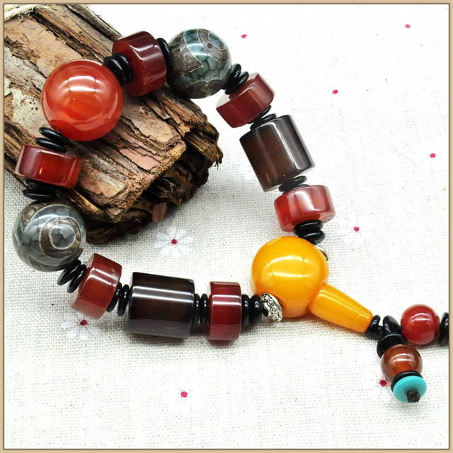 Yumten Mujeres Pulseras 15mm Agate Bracelet Lover Bracelet Men And Women Bracelets Of Beads 925 Sterling Fine Bracelet Dzi Stone