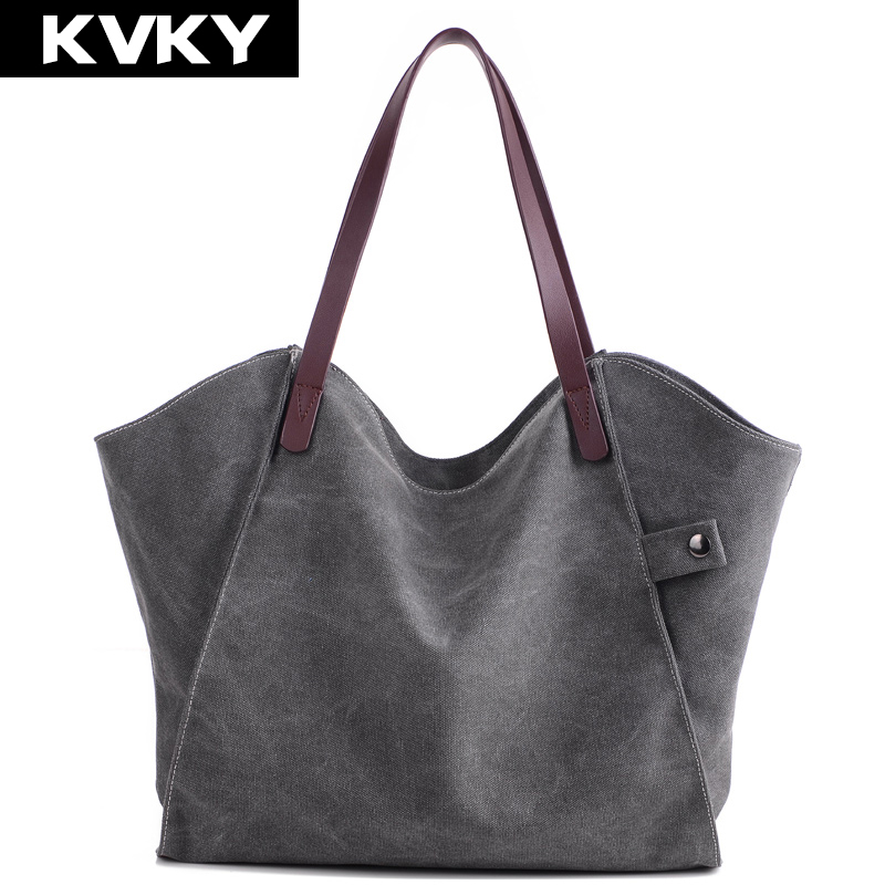 KVKY Vintage Women Canvas Handbag Casual Large Capacity Bag Female Tote Trapeze Ruched Shoulder Messenger Bag shopping Bag Bolsa rivet bag for women casual large capacity tote handbag horizontal vertical type useful shopping bag necessity sac bolsas new2015