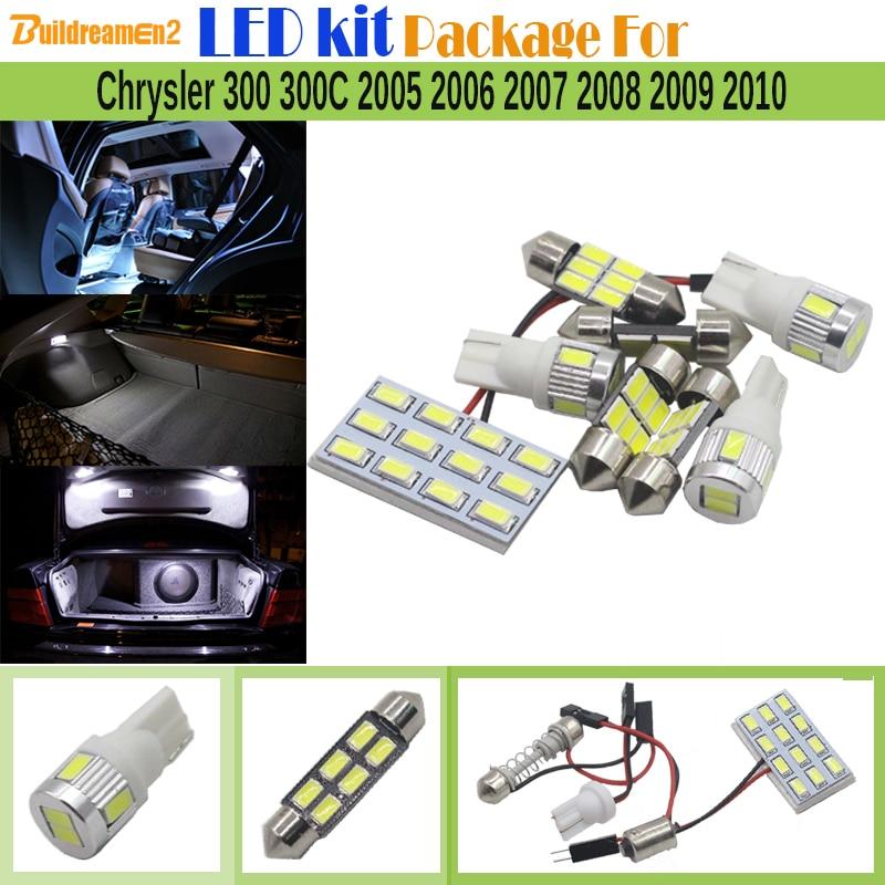 Buildreamen2 Car 5630 SMD Interior LED Bulb LED Kit Package White License Plate Map Dome Light For Chrysler 300 300C 2005-2010