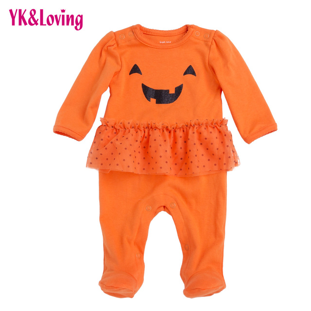 b00639eab Halloween 100% Cotton Baby Girl Romper Autumn/winter Long Sleeve Baby  Overalls Ruffle Infant Girls Costume Newborn Clothes