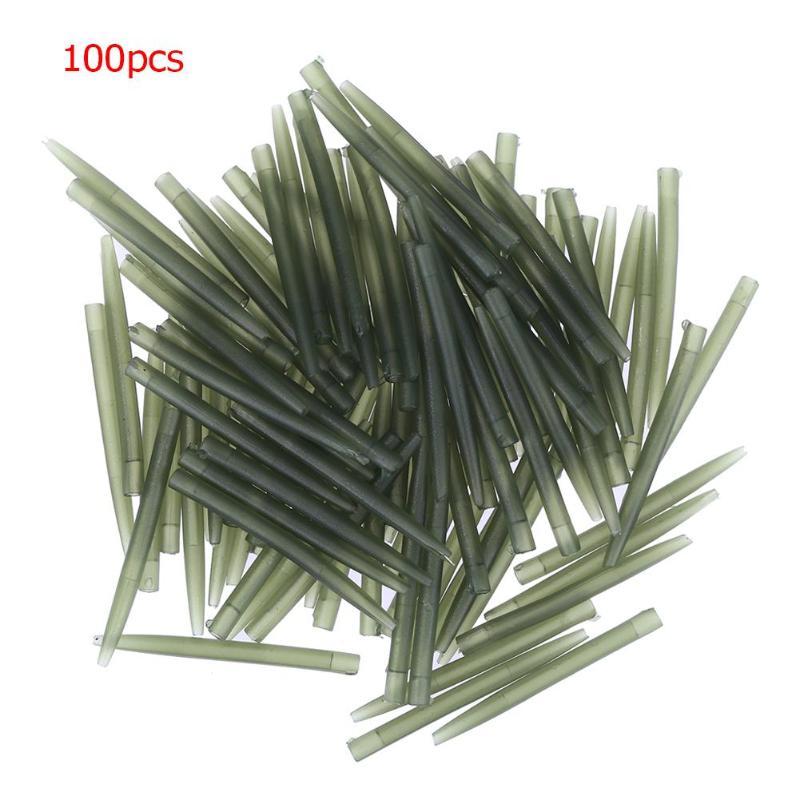 100pcs Fishing Hook Sleeve Tube Hair Rig Aligner Sleeves Soft Anti Tangle Positioner Terminal Tackle Carp Fishing Accessories