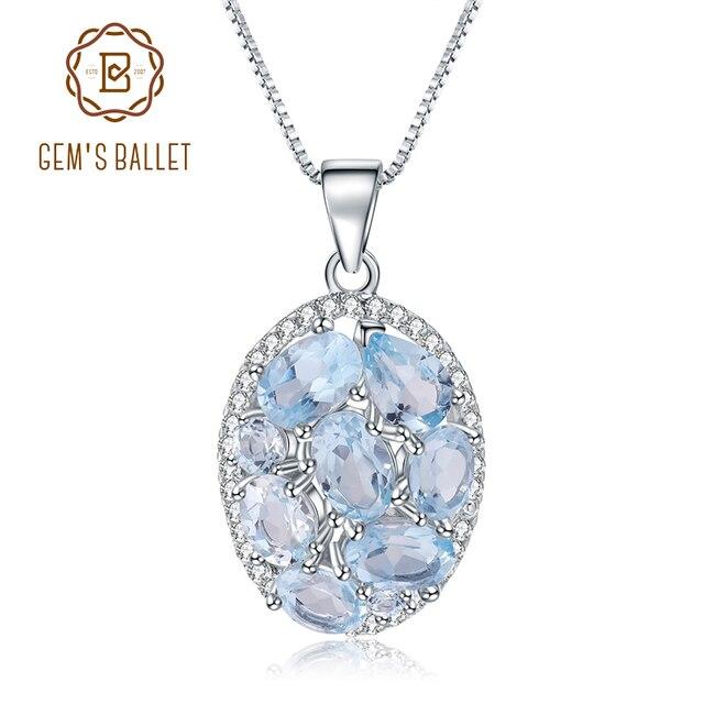 GEMS BALLET 3.90Ct Natural Sky Blue Topaz Gemstone Elegant Pendant Necklace for Women Fine Jewelry 925 Sterling Silver Collier