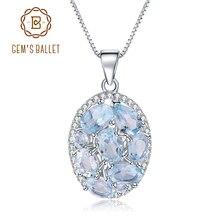قلادة باليه أنيقة من GEMS مزودة بحجر التوباز الأزرق السماوي الطبيعي 3.90Ct للنساء مجوهرات راقية من الفضة الإسترليني عيار 925