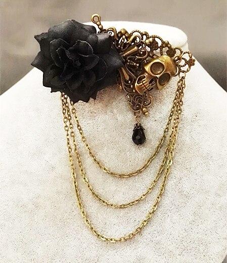 Sugar Skull Rose Gothic Steampunk Hair Clip Handmade Vintage Chain Hair Clips Accessories ...
