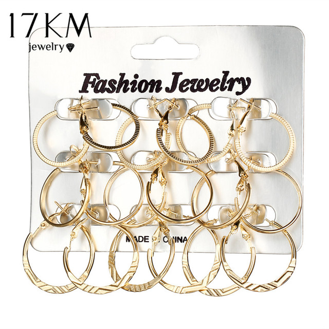 17KM Geometric Round Punk Hoop Earrings Set For Women Girls Gold Silver Color Twist Earring Party Jewelry Gift 9 pair/lot