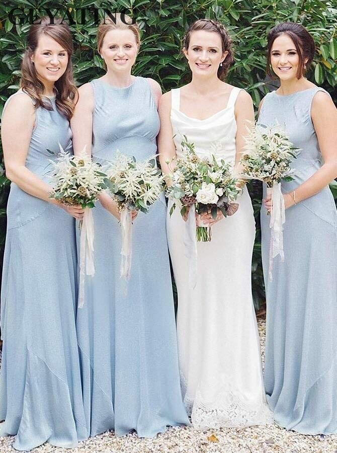 Light Blue Satin   Bridesmaid     Dress   Long Cheap Beach Wedding Guest Party   Dress   2019 Vestido de madrinha Brides Maid of Honor Gowns
