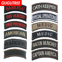 GUGUTREE embroidery HOOK&LOOP rank patch letter patches badges applique for clothing AD-154