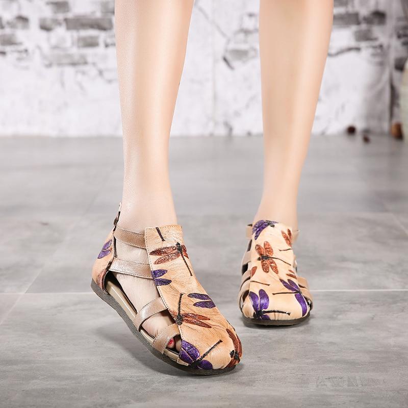 اليعسوب الصنادل النساء أحذية 2019 الجلد الطبيعي سيدة الأحذية عبر حزام الظهر سستة بارد الإناث الترفيه الحيوان الصنادل-في الكعب المنخفض من أحذية على  مجموعة 1