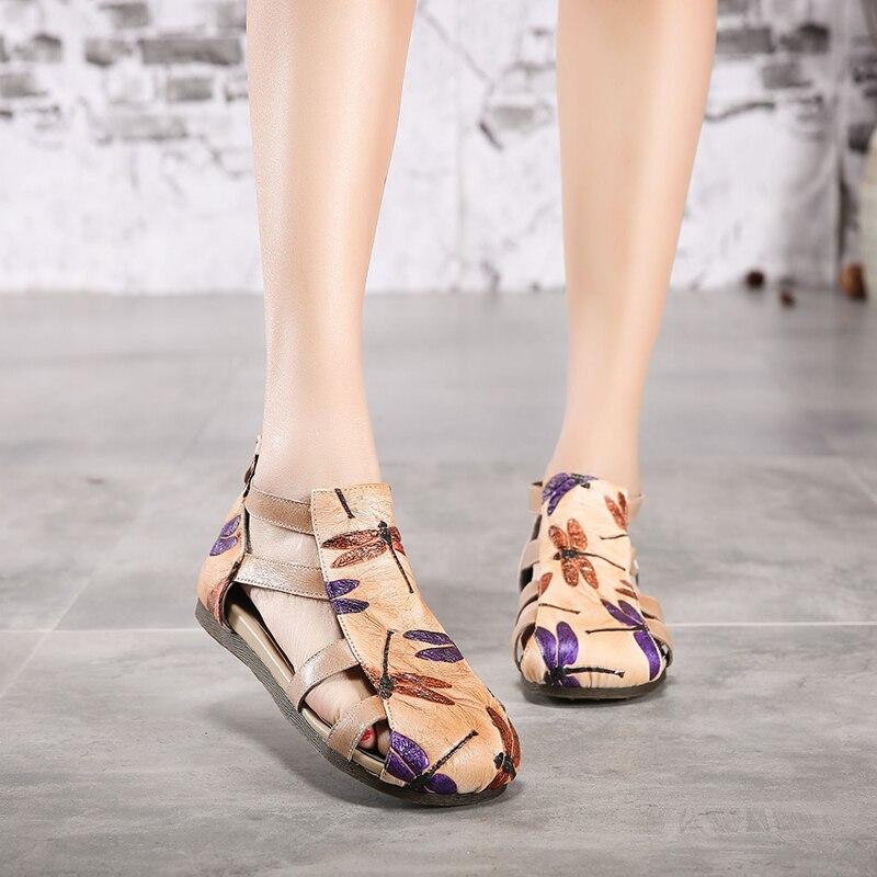 Sandalias libélula zapatos de mujer 2019 zapatos de mujer de cuero Natural con correa cruzada con cremallera trasera-in Sandalias de mujer from zapatos    1