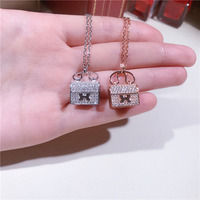 2018 Simple S925 Sterling Silver Letter H Handbag Necklace Micro Sterling Zircon Sweet Temperament Clavicle Chain Summer Women