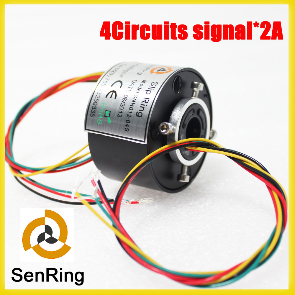 SENRING Electric swivel slip ring hole size 12.7mm 4 circuits signal 2A of through bore slip ring