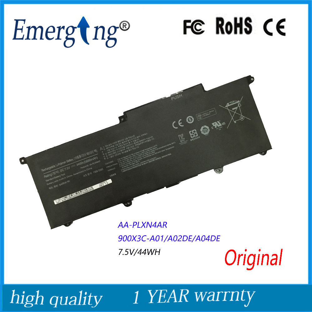 7.5V 44Wh New Original Laptop Battery for Samsung NP900X3E 900X3F 900X3G AA-PLXN4AR AA-PBXN4AR 900X3C-A01 900X3C-A0 new for samsung np900x3b np900x3c np900x3d np900x3e 900x3b 900x3c 900x3d 900x3e keyboard backlit portugal no frame big enter