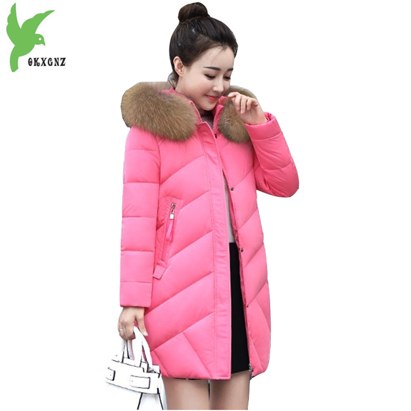 High quality Women Parka Winter Down cotton Jacket Coats 2017 Fashion Hooded Real fur collar Jacket Plus size Female Coat OKXGNZ 100% white duck down women coat fashion solid hooded fox fur detachable collar winter coats elegant long down coats