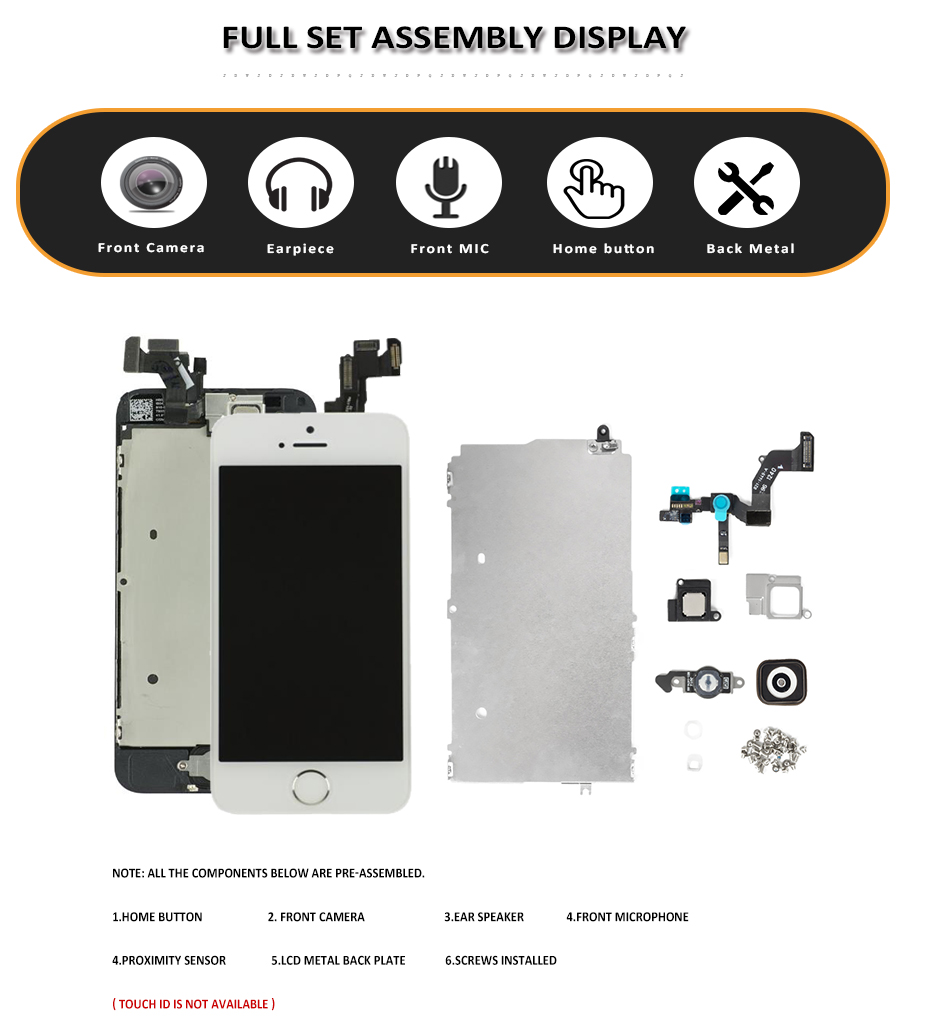 Image 2 - Full Set LCD for iPhone 5 5S 5C SE LCD with Home Button Front Camera Complete Assembly Display Touch Screen Digitizer Replacemen-in Mobile Phone LCD Screens from Cellphones & Telecommunications