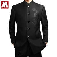 Black Chinese Tunic Suit Men's Traditional Stand Collar Suits Apec Leader Costume Male Embroidery Dragon Totem Suit Big size 4XL