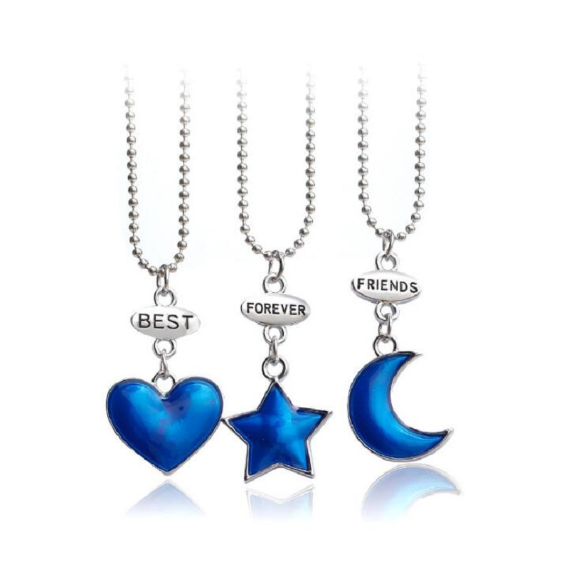 2019 Fashion <font><b>Necklace</b></font> <font><b>3</b></font> pcs/set Best <font><b>friends</b></font> forever blue star moon love heart <font><b>BFF</b></font> friendship alloy Jewelry gift <font><b>for</b></font> Girlfriend image