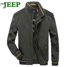 AFS JEEP Famous Brand New Fashion High Quality Lattice Spring Autumn Cotton Splice Men Jacket Personality Military Color 140