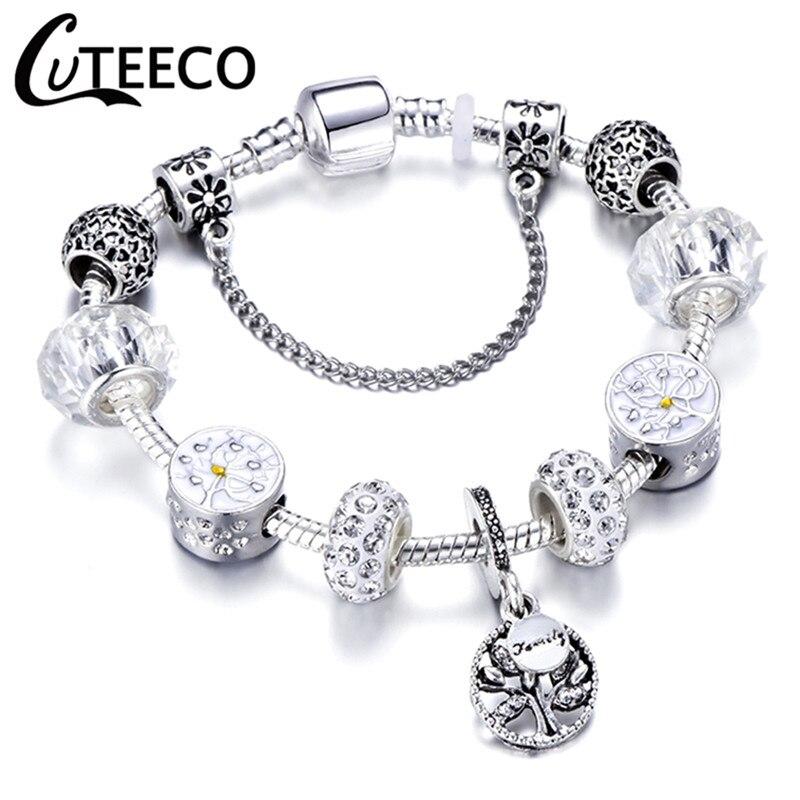 CUTEECO 925, модный серебряный браслет с шармами, браслет для женщин, Хрустальный цветок, сказочный шарик, подходит для брендовых браслетов, ювелирные изделия, браслеты - Окраска металла: AE0221