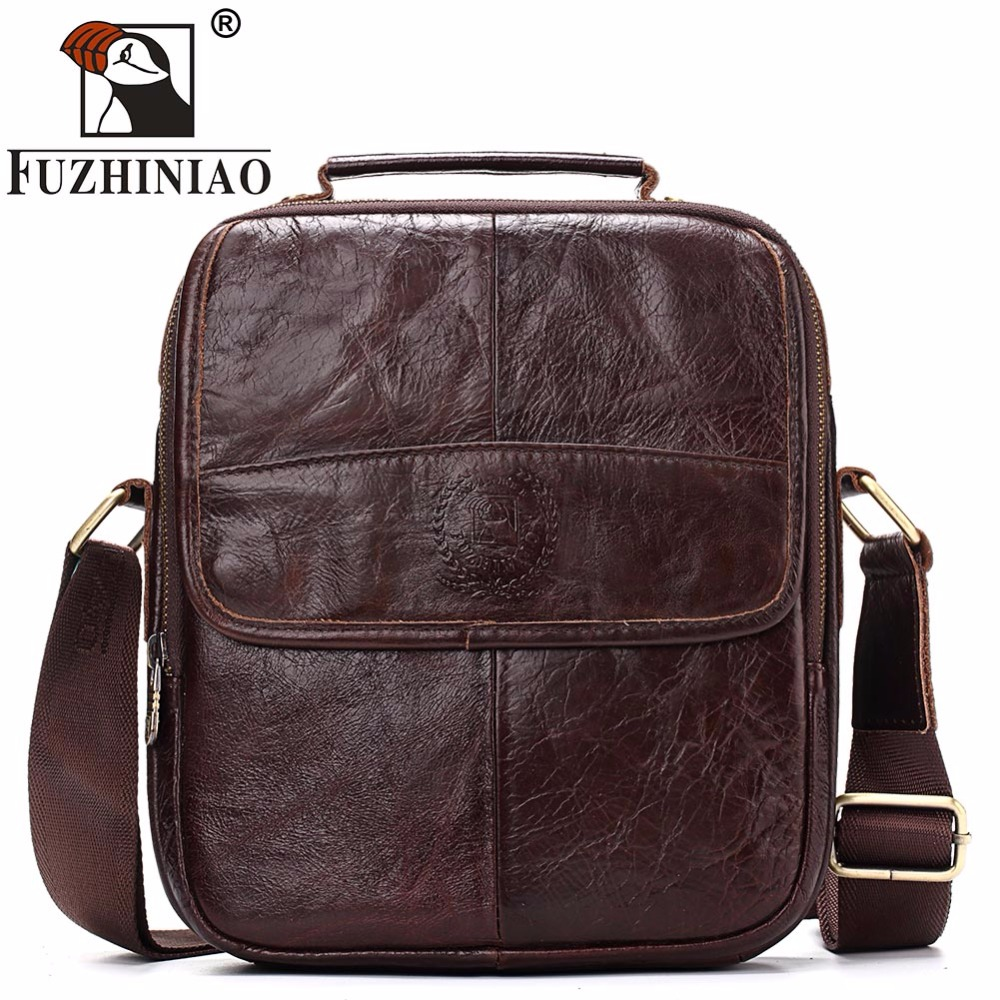 FUZHINIAO Genuine Cowhide Leather Messenger Bag Men Shoulder Crossbody Bags Bolsas Sac Sling Chest For Male
