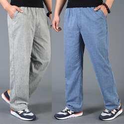 Летние тонкие повседневные мужские льняные брюки мужские с эластичной резинкой на талии льняные брюки Мужские дышащие pantalon homme pantalones hombre