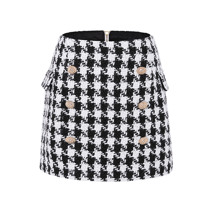 New Fashion Runway 2019 Designer Skirt Women's Metal Lion Buttons Embellished Houndstooth Tweed Mini Skirt