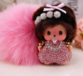 Monchhichi pompom keychain New 15 colors Monchichi Key Chain 8 cm Real rabbit Fur Plush Pom pom Women Handbag car charm Pendant