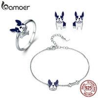 BAMOER 100 Genuine 925 Sterling Silver French Bulldog Doggy Ring Bracelet Earrings Jewelry Set Silver Jewelry