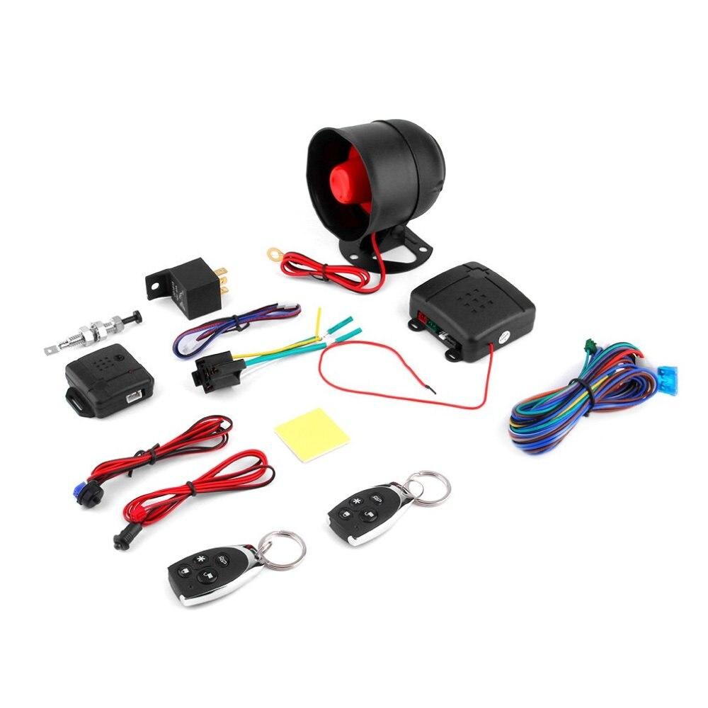 Sistema Del Vehículo Universal de la Alarma Del Coche 1-Way ción Protección Sistema de Seguridad keyless Entry Siren + 2 Control Remoto Antirrobo venta caliente ~