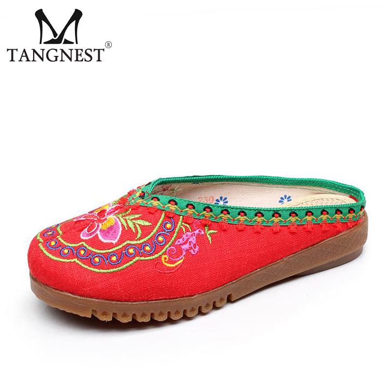 Tangnest NEW Spring Woman Embroider Sandals Ethnic Hemp Bordered  Comfortable Woman Flats 2017 Soft Casual Woman Shoes XWD5568 tangnest new embroider women flats casual flower printed ballet flats solid pu leather leisure shoes woman size 35 40 xwc1233